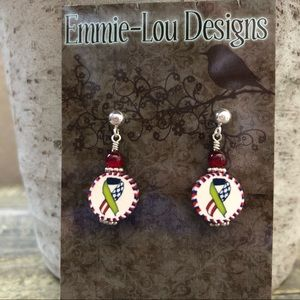 FREEDOM USA RIBBON Sterling Beaded Clay Earrings